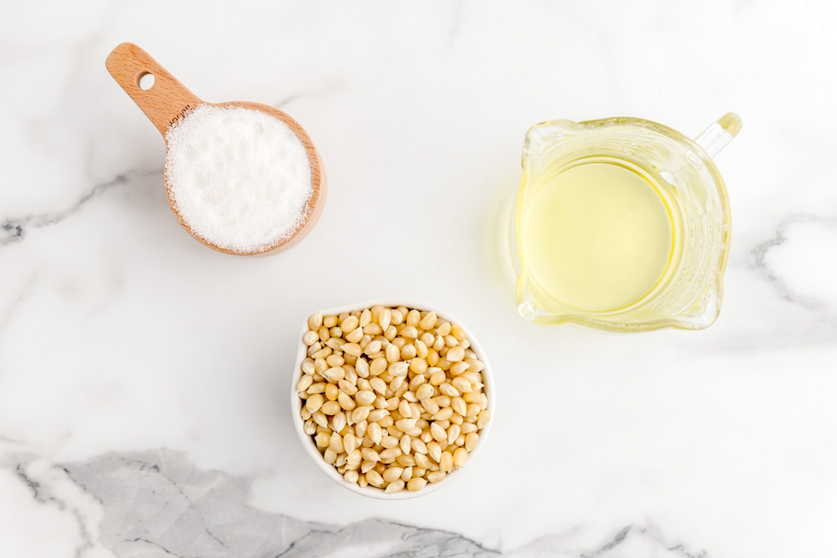 Ingredients for kettle corn recipe