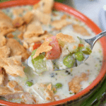 The ultimate comfort food right here! This creamy, delicious Chicken Pot Pie Soup has all your favorite vegetables, big chunks of chicken, and even seasoned pie crust crumbled on top. It's the perfect bowl of soup to warm your tummy and soul!