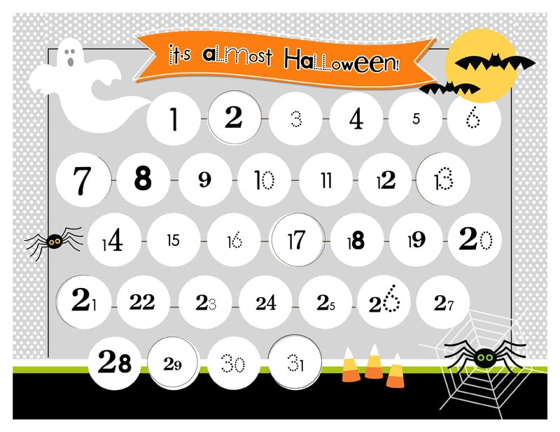 image relating to Countdown Calendar Printable referred to as Halloween Countdown Printable