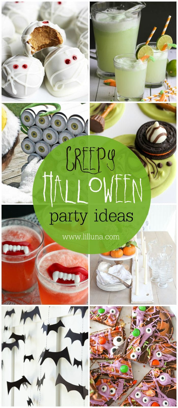 Hosting a Halloween party?! Here is a great, creepy collection of decor, food and game ideas. Get all the ideas on { lilluna.com }