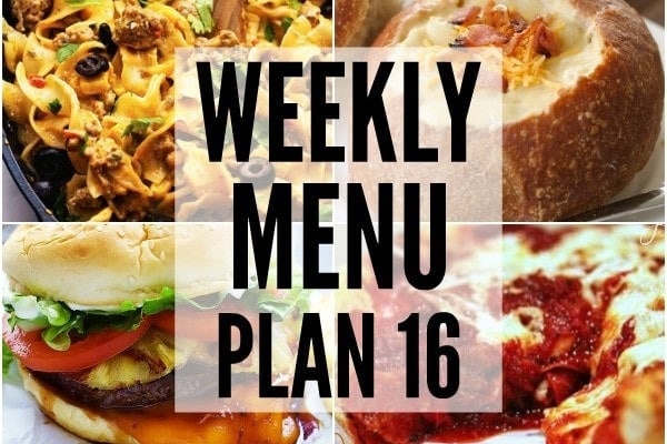 Weekly Menu Plan 16