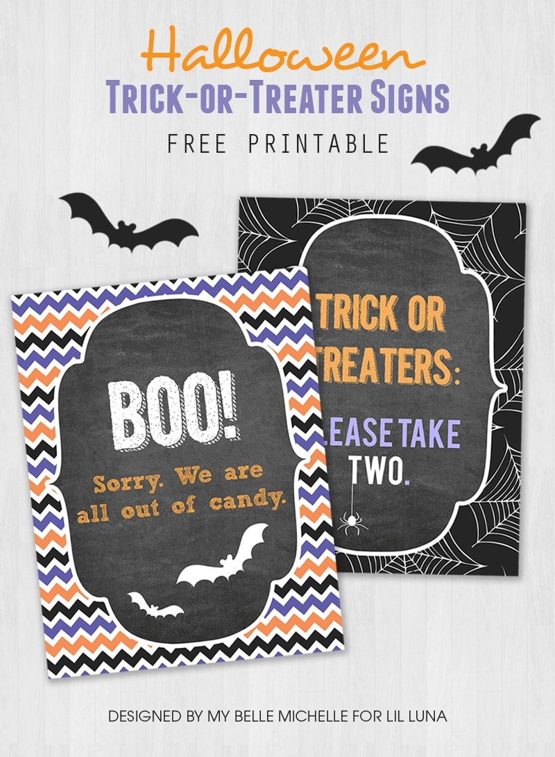 FREE Halloween Trick-or-Treater signs - download these free prints to display for handing out candy or when you're out of candy!