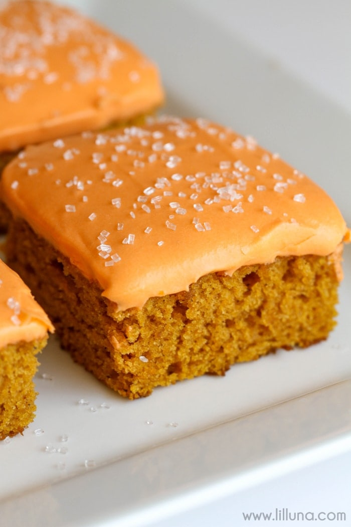 Soft and flavorful Pumpkin Bars with a homemade Cream Cheese frosting. { lilluna.com }