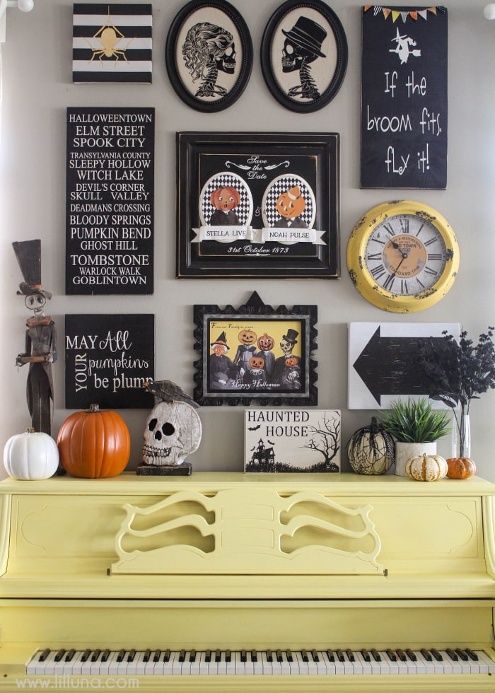 A beautiful and bright Halloween Gallery Wall - get all the details on { lilluna.com } Great ideas and FREE Prints to help you as you decorate for Halloween.