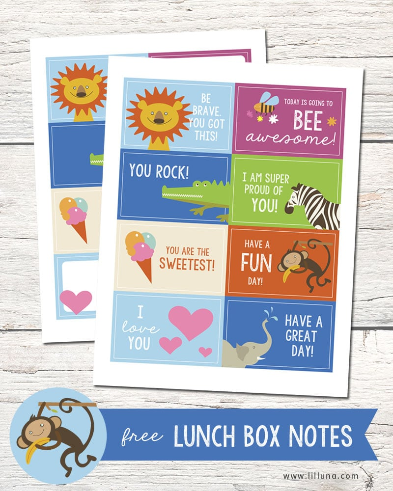 Lunch Box Ideas and FREE Lunchbox Notes on { lilluna.com } These will put a smile on your child's face!!