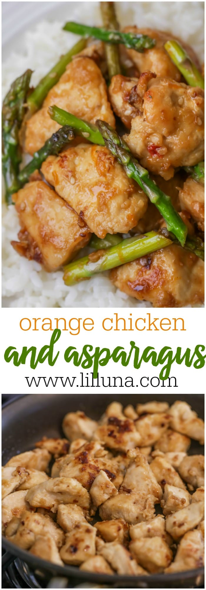 Orange Chicken and Asparagus - a family favorite recipe. Serve over rice or noodles or enjoy on it's own!