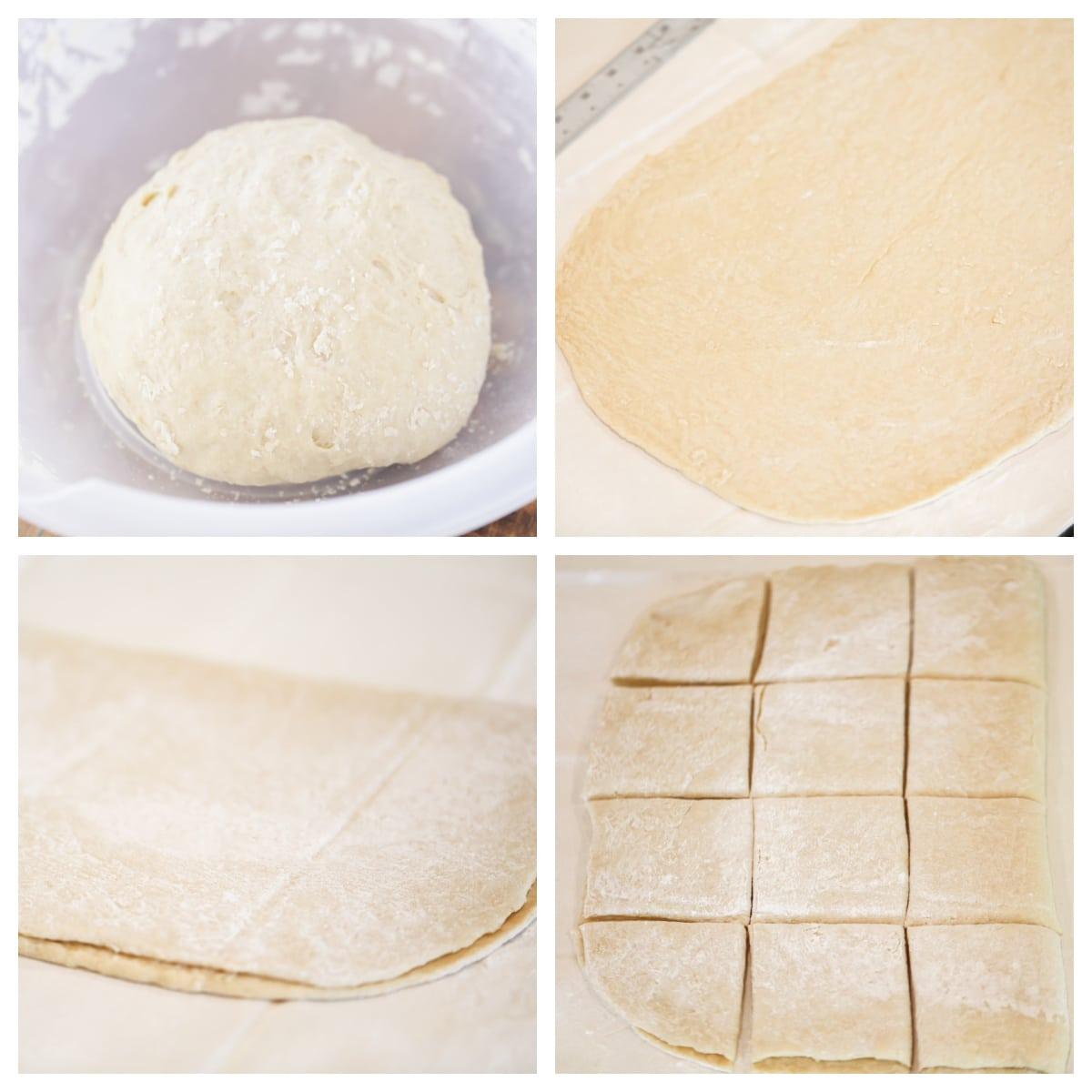 Dough ball, rolled dough, cut dough