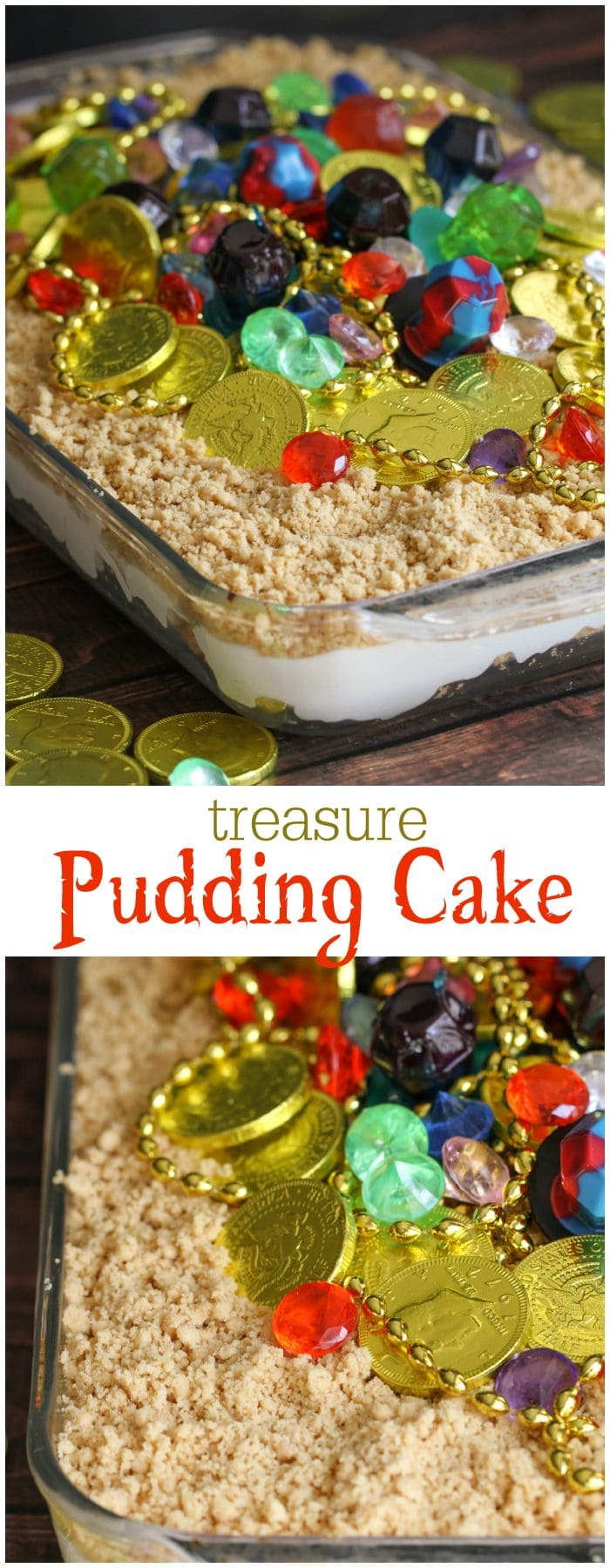 Treasure Pudding Cake - a delicious, simple and FUN Pirate Treasure Cake that kids will LOVE!! Get the recipe and directions on { lilluna.com }