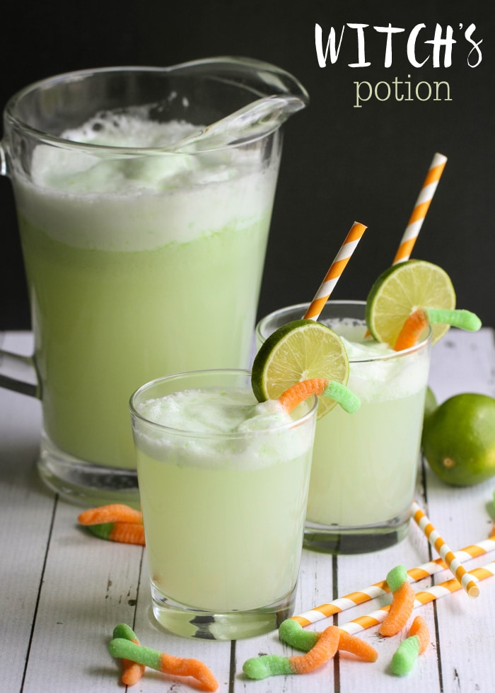Witch's Potion Drink recipe - a chilled Lime and Pineapple mixture that is bubble and perfect for your next Halloween party! Get the recipe on { lilluna.com } Ingredients include ginger ale, lime sherbet, green food coloring, and limes for garnish.