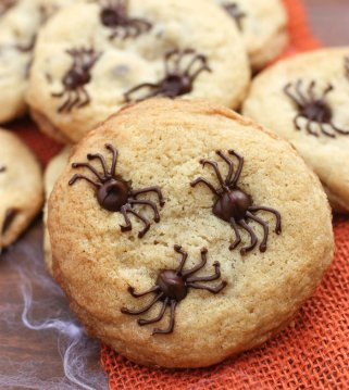 These Chocolate Chip Spider Cookies are such a fun and simple Halloween treat!! { lilluna.com }