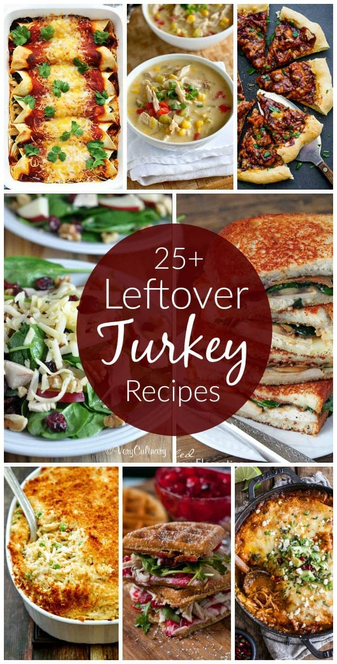 25+ Leftover Turkey Recipes. A great collection of recipes to use all that leftover turkey from Thanksgiving!