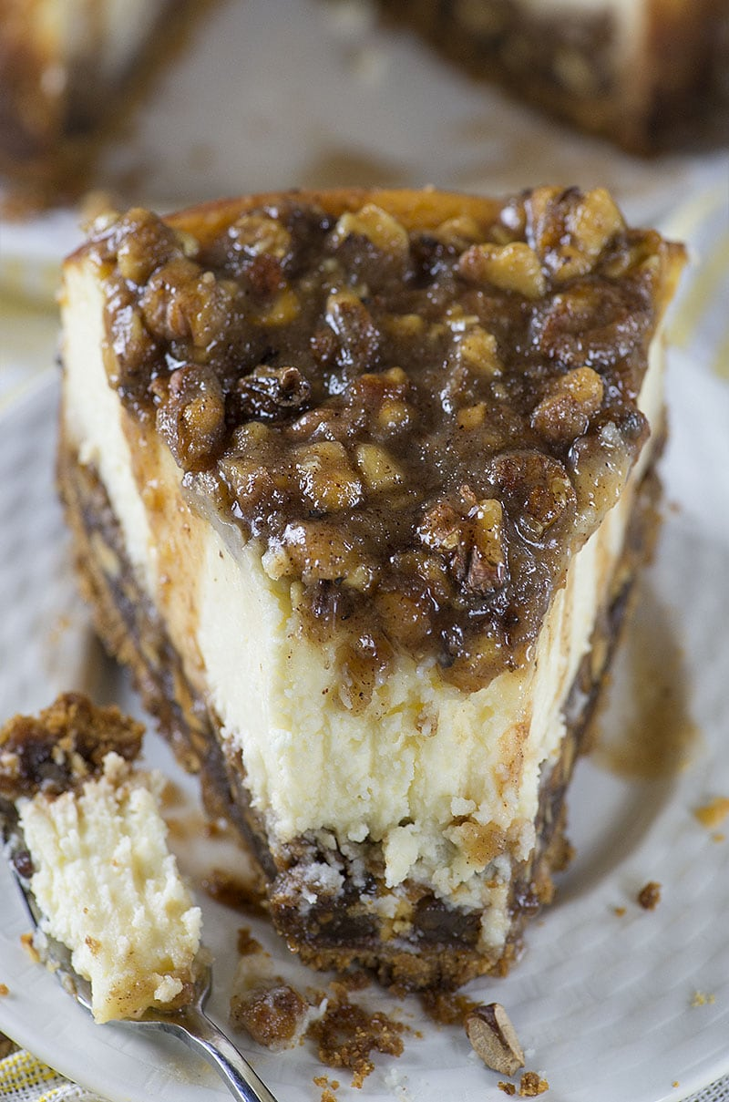 ... pecan pie filling, creamy cheesecake layer and buttery, caramel-pecan