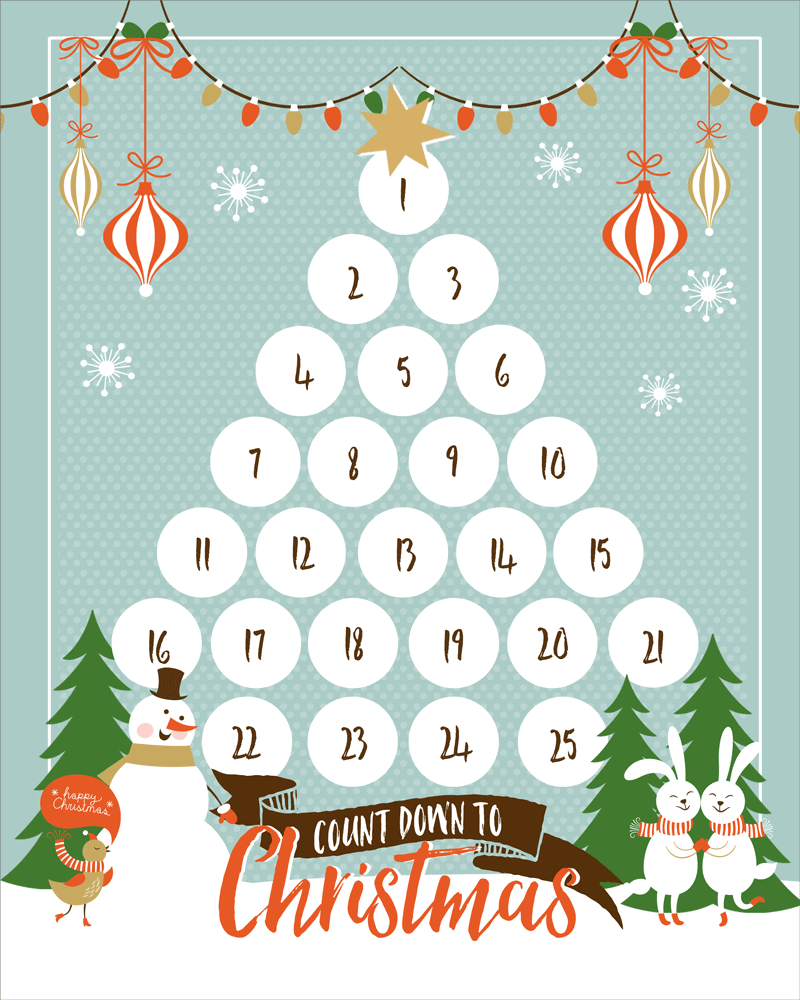 picture relating to Countdown Printable known as Countdown Towards Xmas Printable