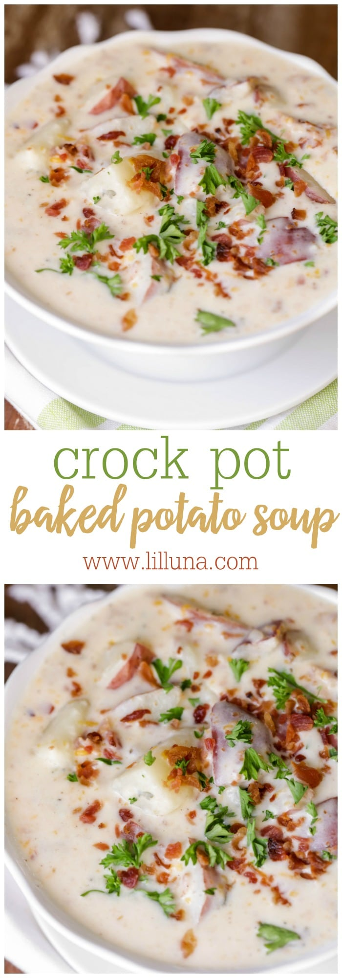 Creamy and delicious Crock Pot Baked Potato Soup - so full of flavor and easy too (my kind of recipe!!) { lilluna.com }