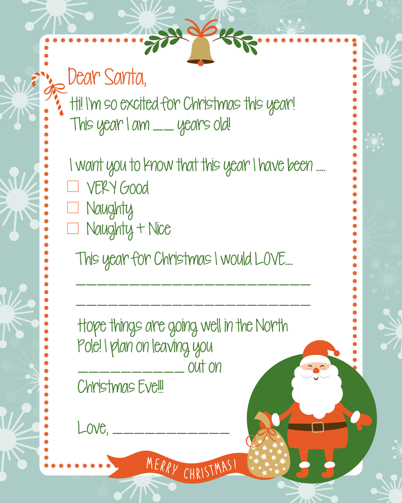 FREE Letter to Santa Print - perfect for the kids to fill out and send to to Santa!