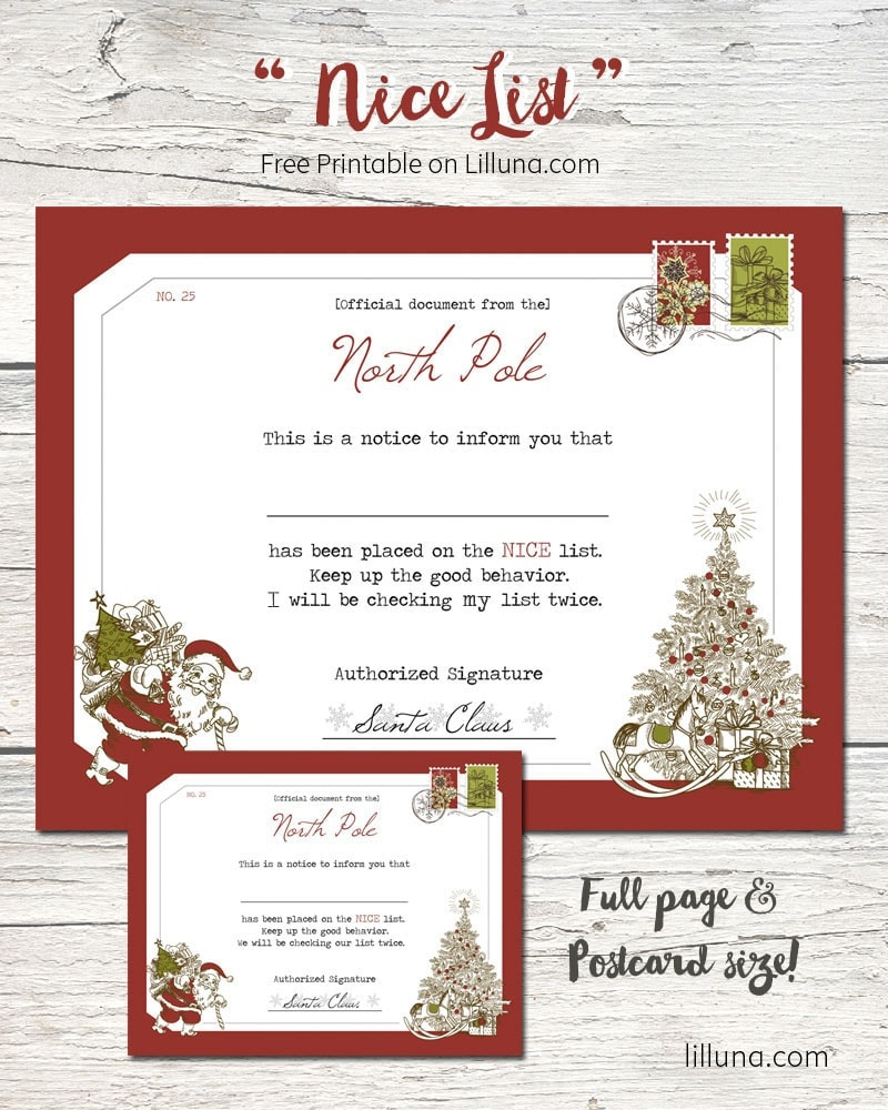 Nice List FREE Printable! A Fun Certificate That Kids Will Enjoy Getting  And Theyu0027  Free Printable Christmas Lists