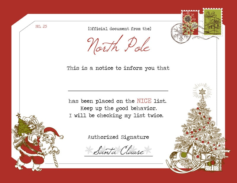 """Official"" Santa's Nice List Certificate - download, print and give to your children to let them know Santa put them on the Nice List."