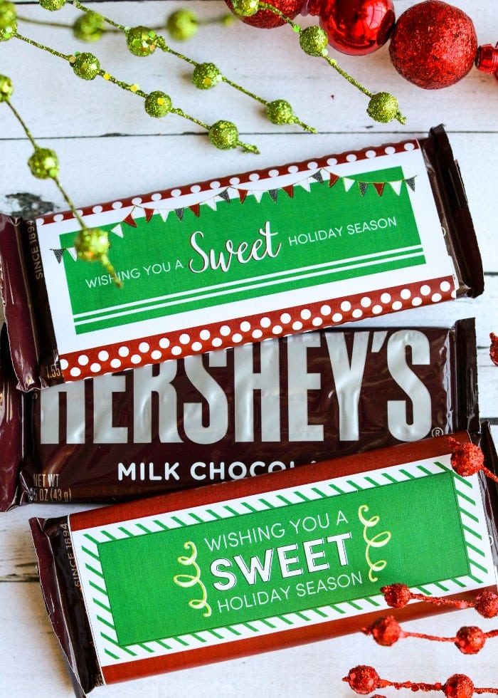 FREE Christmas Candy Bar Wrappers - cute and simple gifts for friends, neighbors and more!