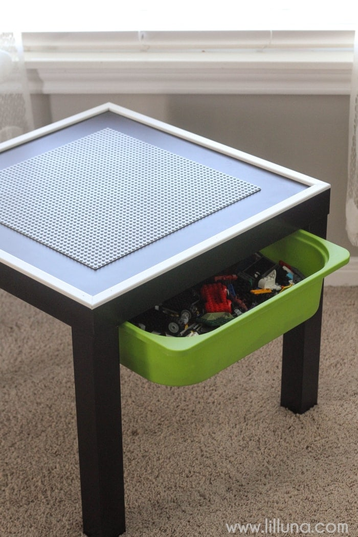 DIY Lego Table With Storage Bin Underneath To Hold All The Extra Legos And  An Edge