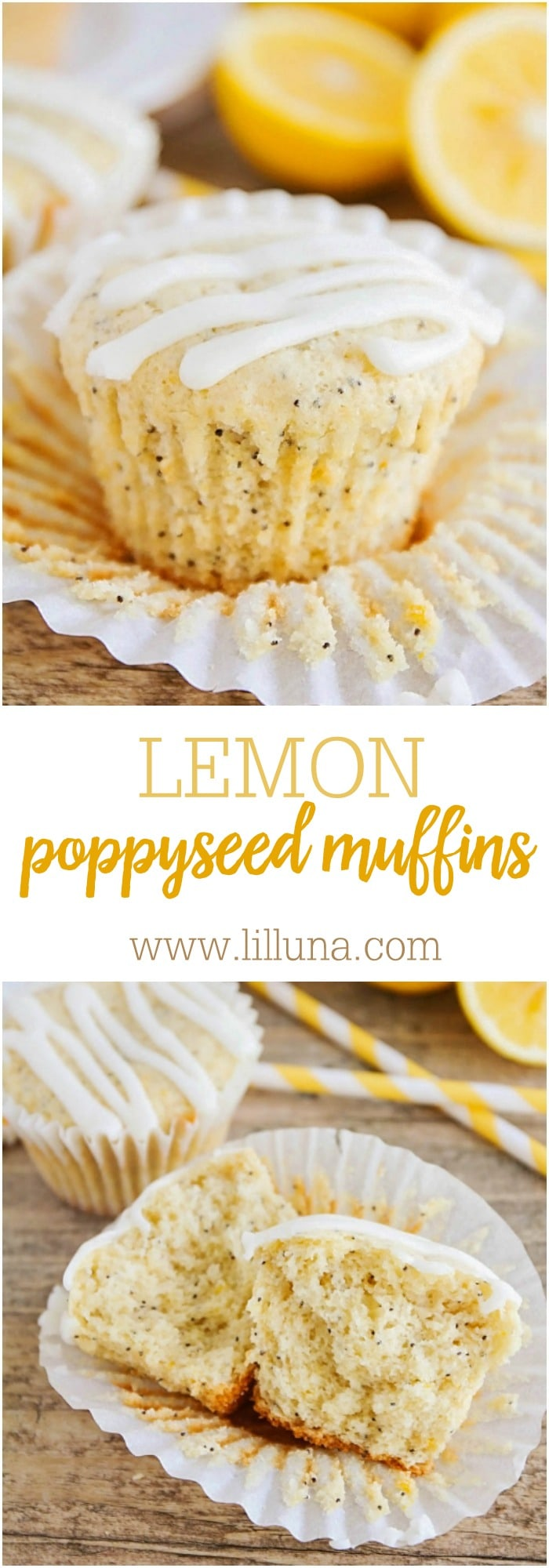 Glazed Lemon Poppy Seed Muffins on { lilluna.com } Soft & delicious with a yummy glaze!!