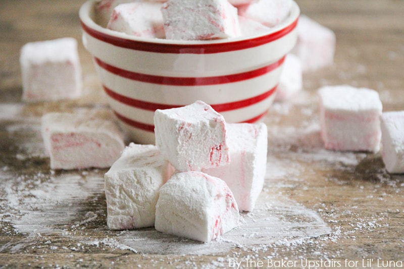 Peppermint swirl marshmallows cut in cubes and served in a bowl