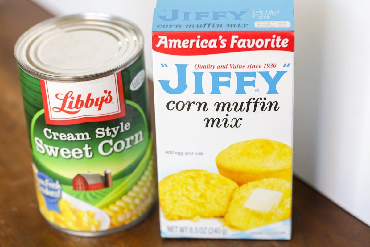Jiffy cornbread mix and can of corn