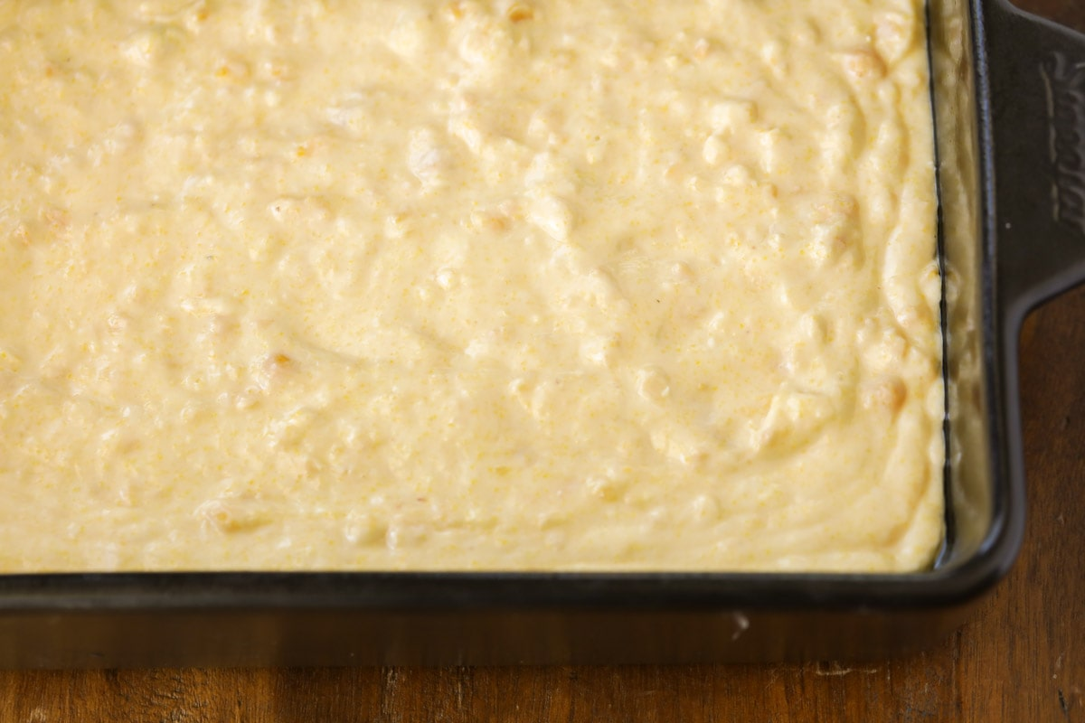 corn batter in a glass baking dish