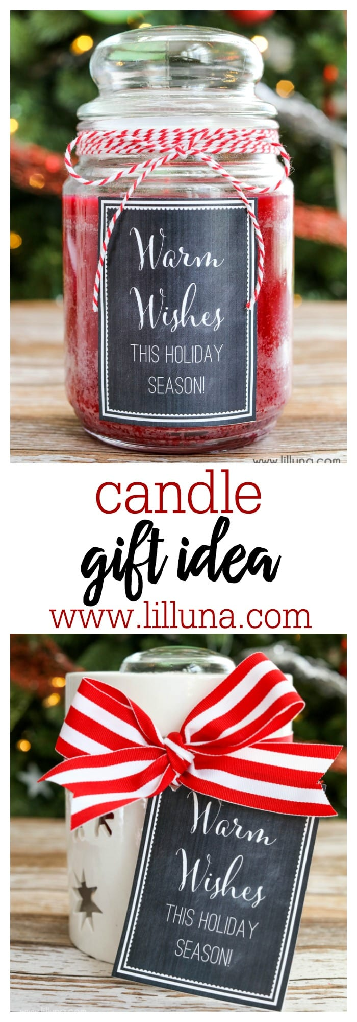 CUTE candle gift idea with free tags. Simple and inexpensive too!!