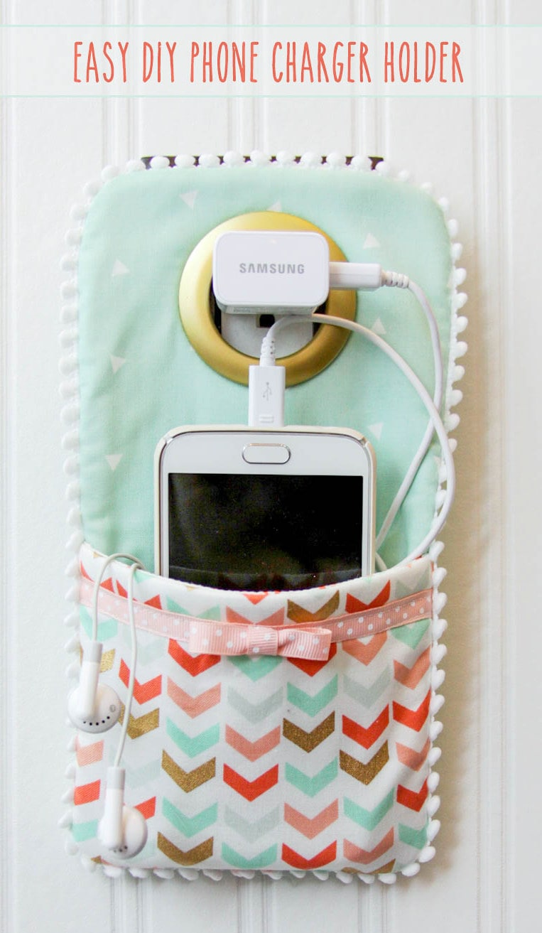 DIY Phone Charger Holder Holder - LOVE this idea!! Few supplies needed to make this cute phone holder!