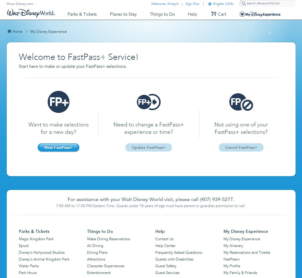 Booking FastPasses