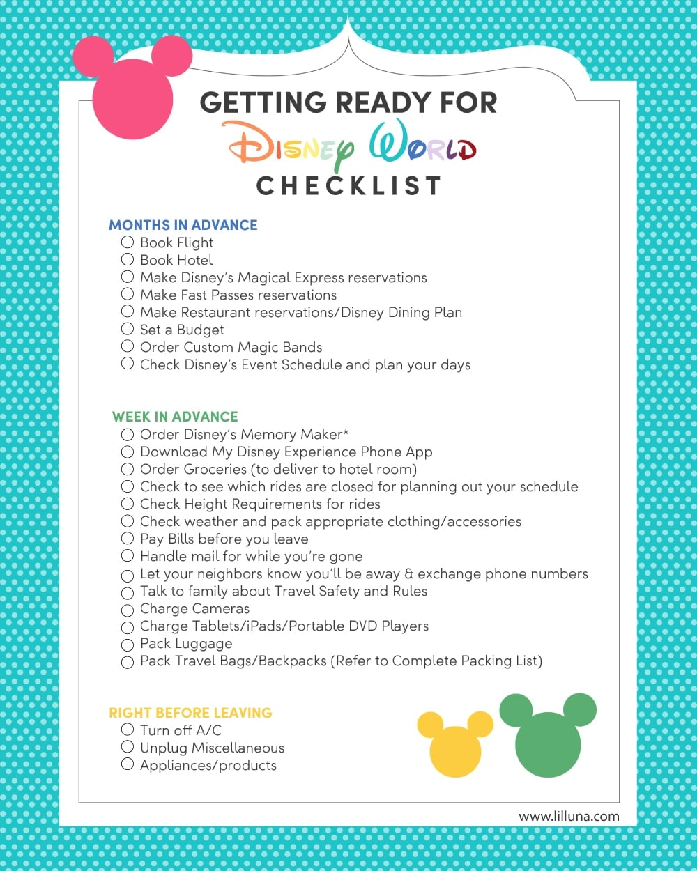 Getting ready for Disney World Checklist - use this free printable to help you get ready for your trip to the Happiest Place on Earth!