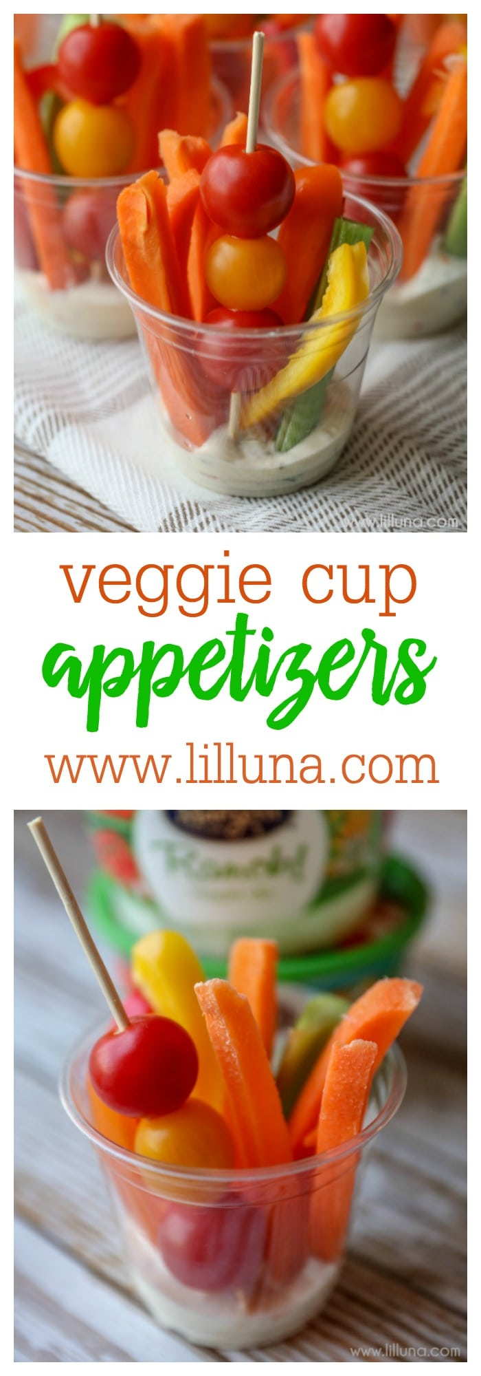 Veggie Cup Appetizers - perfect for parties and after school snacks for the kids!
