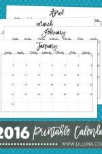 FREE 2016 Printable Calendar