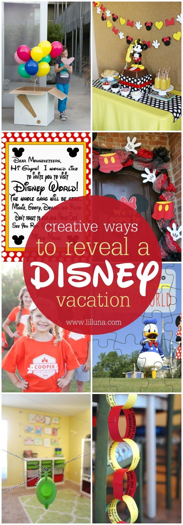 10 Creative Ways to Reveal a Disney Vacation - so many great ideas!! Saving this list for our trip to the Happiest Place on the Earth!