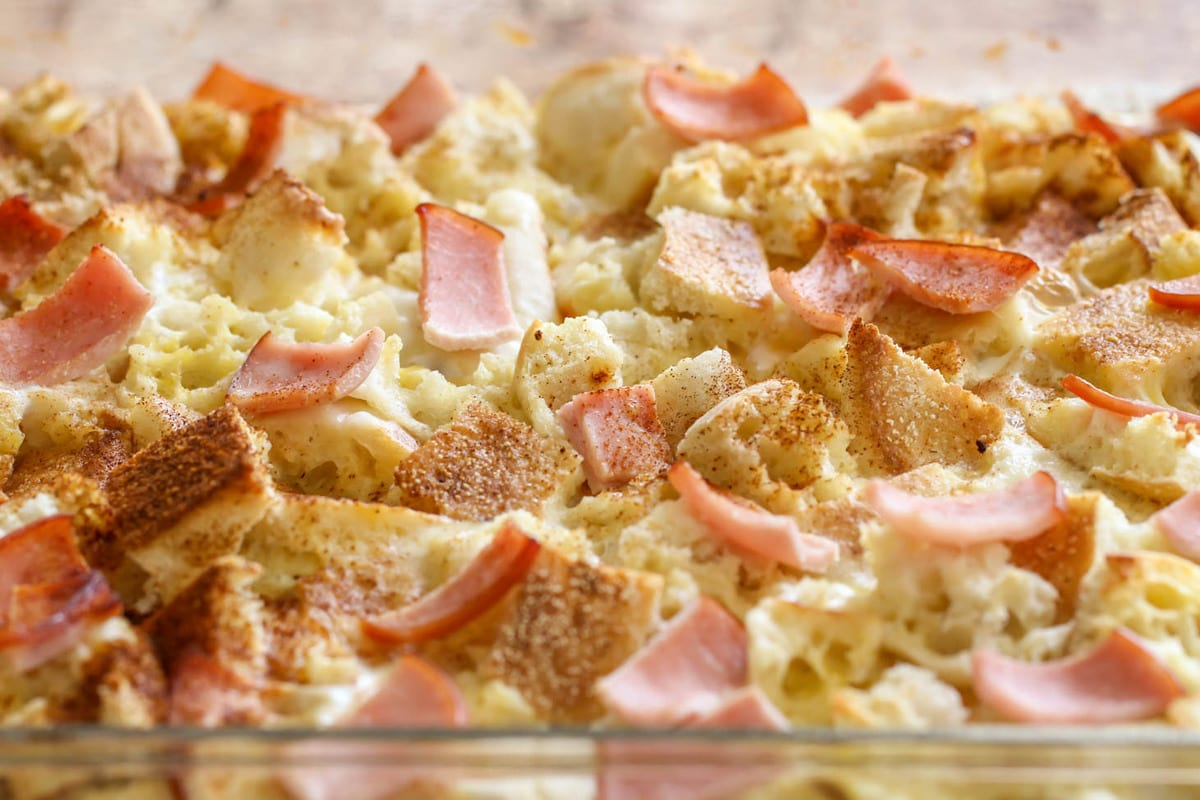 Eggs Benedict Casserole in baking dish
