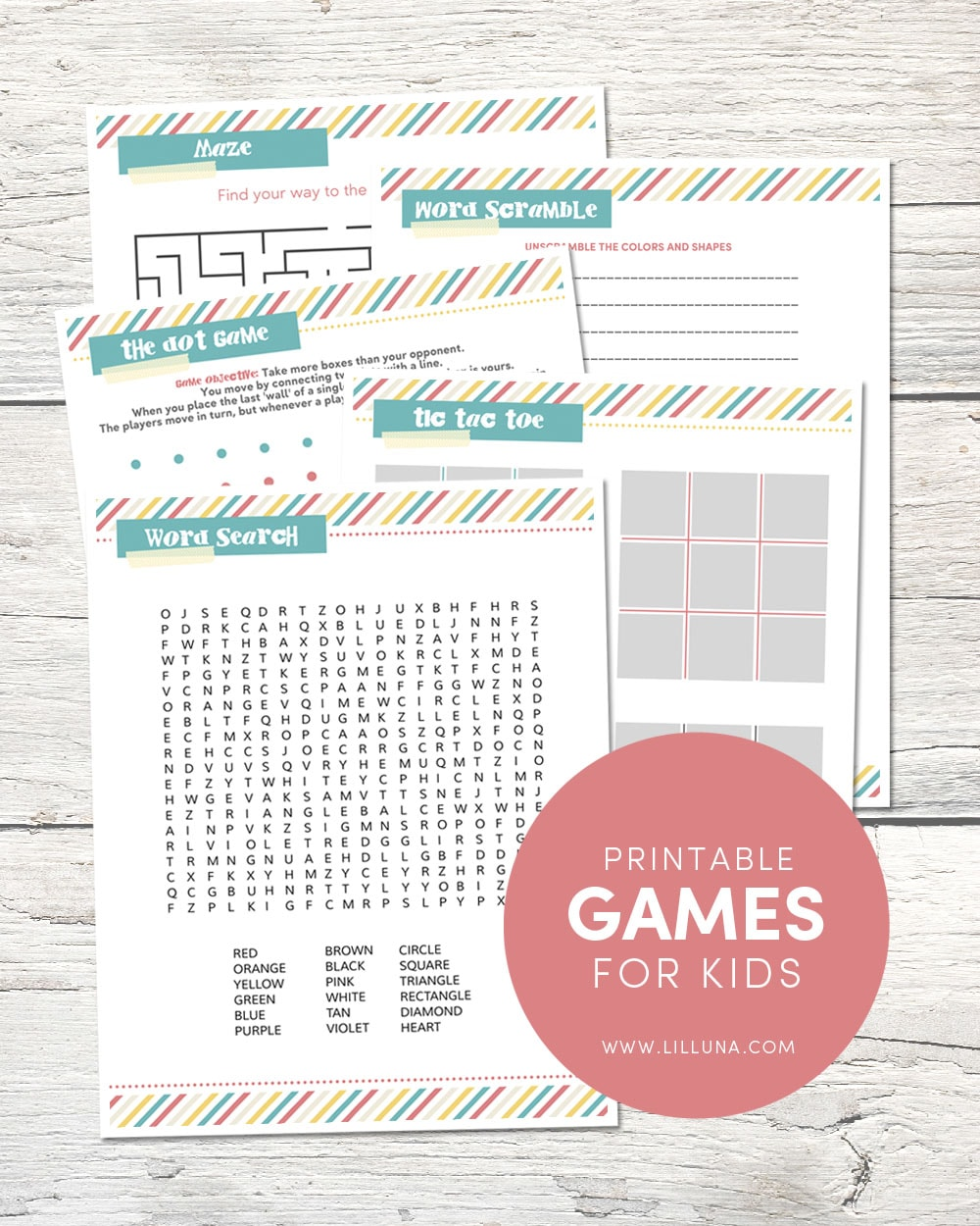 Funfetti dip free printable games for kids including a word search maze tic tac toe fandeluxe Gallery