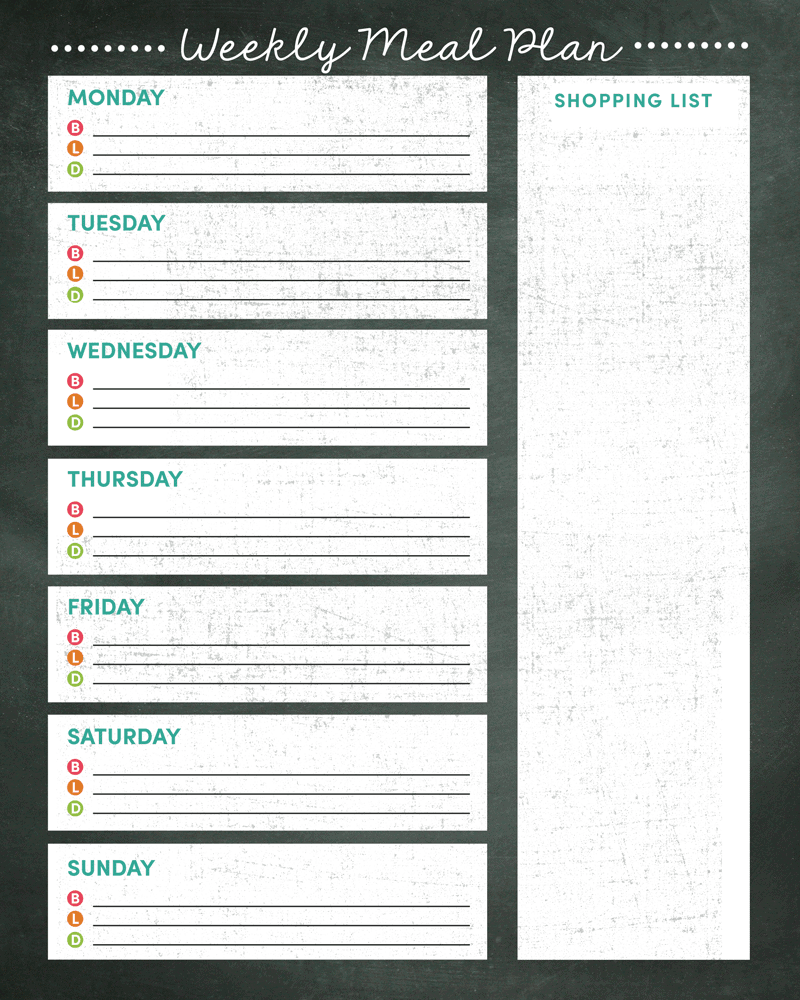 Crazy image in weekly meal planner printable