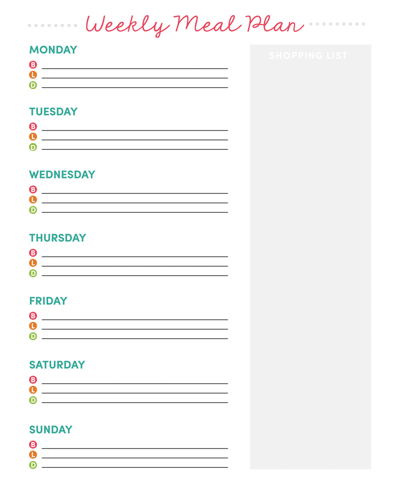 weekly meal planner printable grocery list