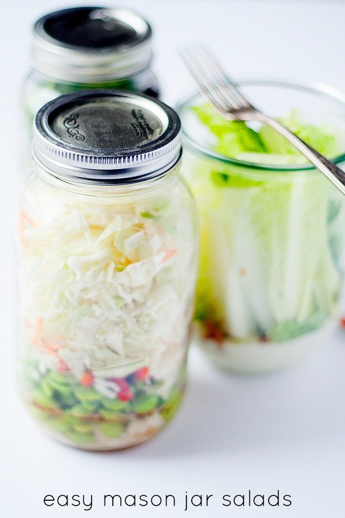 3 EASY Mason Jar Salads including Asian Chicken Salad, Taco Salad and The Wedge - simple recipes perfect to make and take on the go.