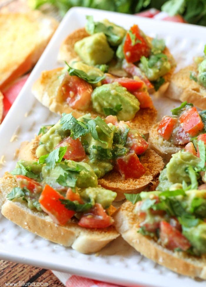 Guacamole Bruschetta - a simple, quick and delicious appetizer filled ...