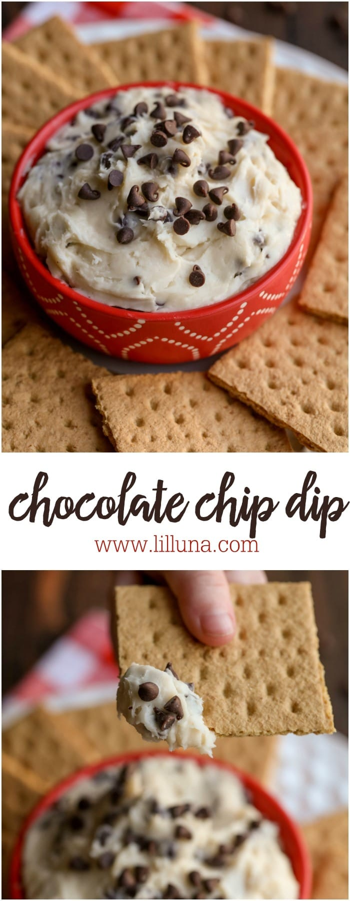 Chocolate Chip Dip - a simple, creamy delicious treat filled with mini chocolate chips. It's the perfect recipe for any party!
