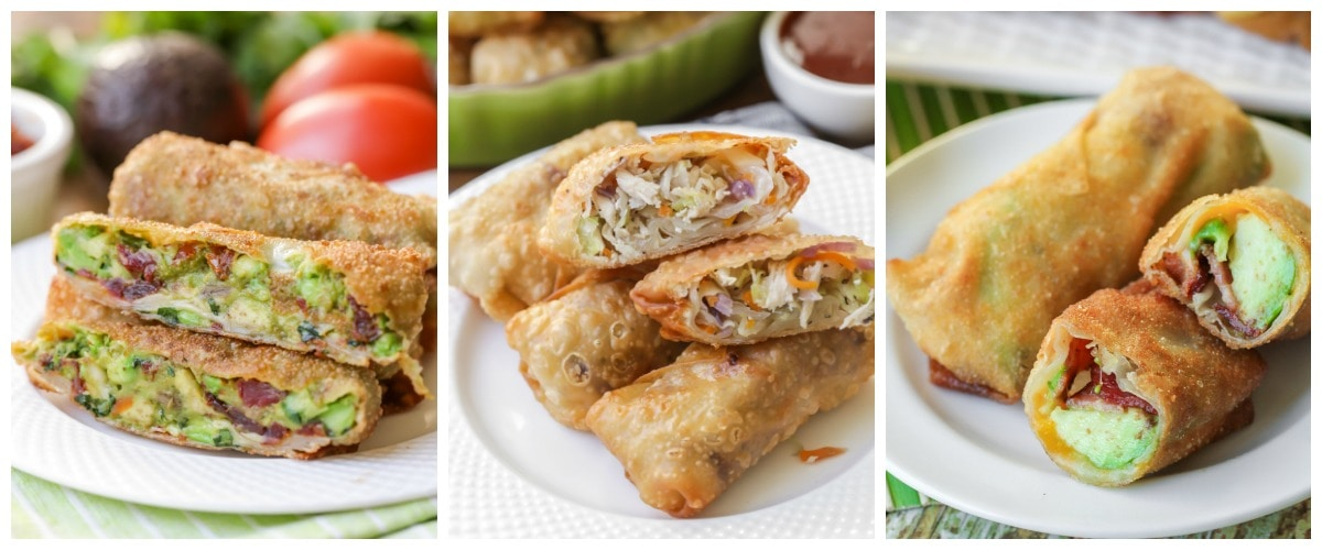 Three images of egg rolls on white plates.