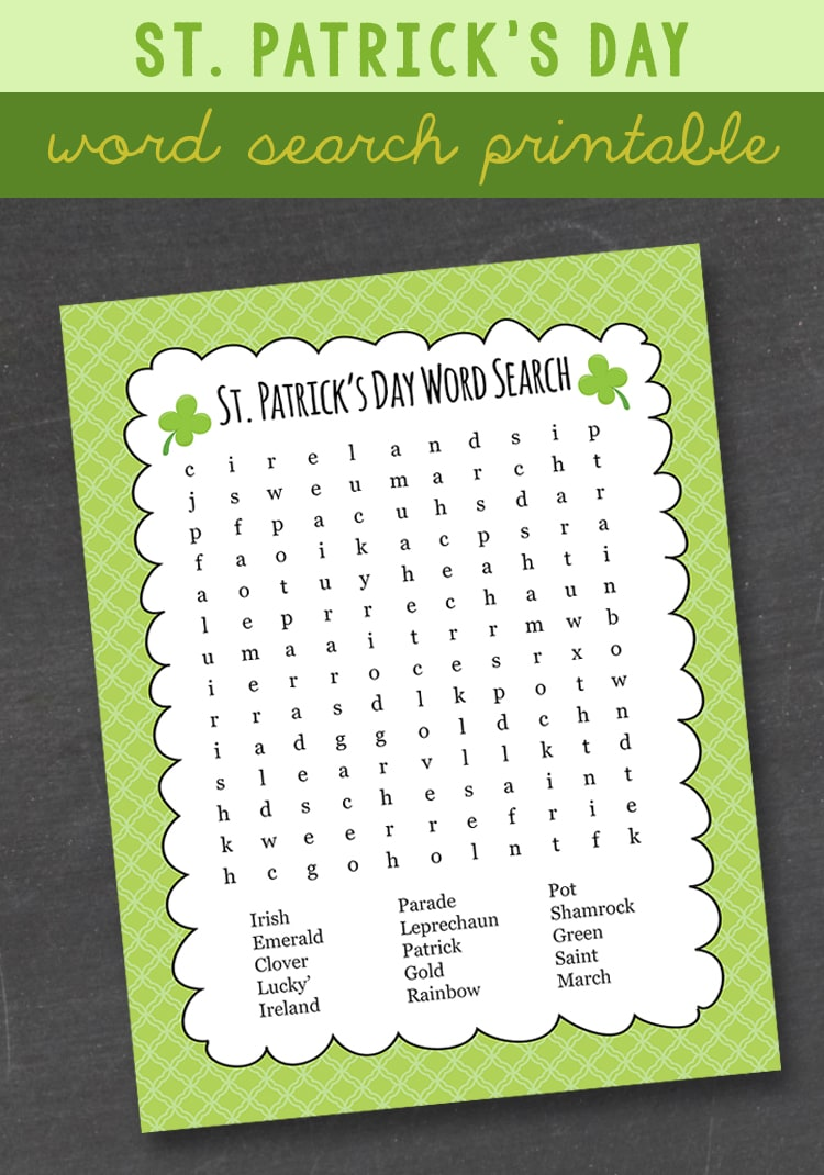 FREE St. Patrick's Day Word Search - the kids love these! This is a great activity to keep kids busy!!