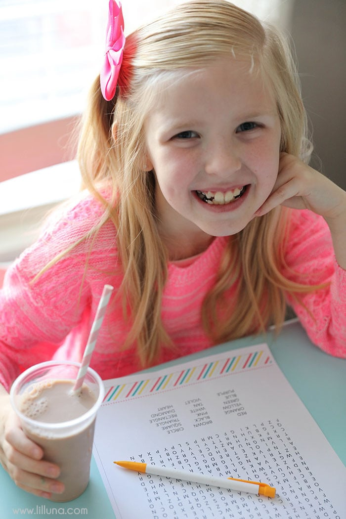 FREE Printable Games for Kids including a word search, maze, Tic Tac Toe, Dot game and word scramble game!