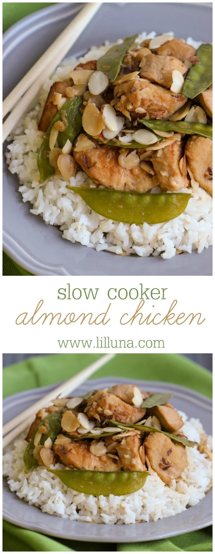 Slow Cooker Almond Chicken - one of the easiest and yummiest dinner recipes you can make in the crock pot!