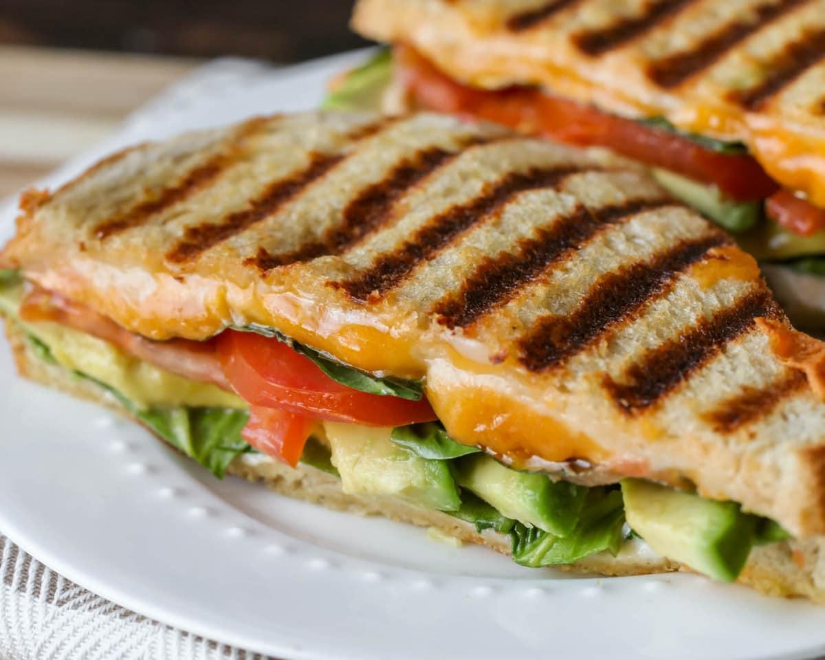 Vegetarian panini on plate