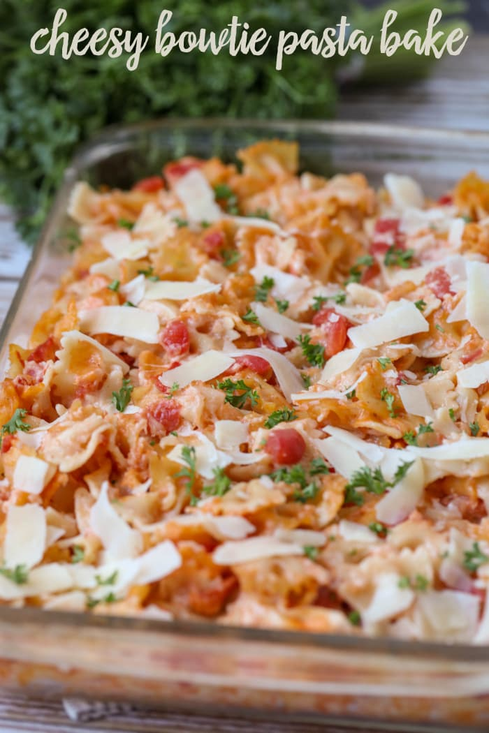 Cheesy Bowtie Pasta Bake - a favorite dinner recipe!! The whole family loves this cheesy dish. A hearty dish full of bow tie pasta, parsley, tomatoes, and lots of cheese!