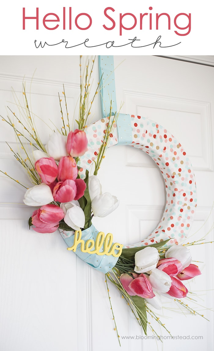BEAUTIFUL (and simple) Hello Spring Wreath - this is the perfect craft to make and display on your front door or in your home.