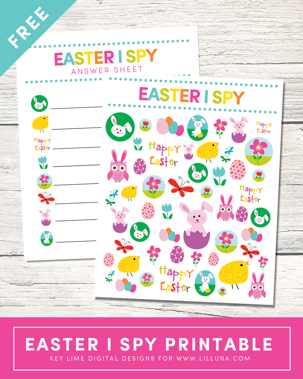 FREE Easter I Spy Printable - a super cute printable and game for the kids to play for Easter parties or even Easter Sunday!