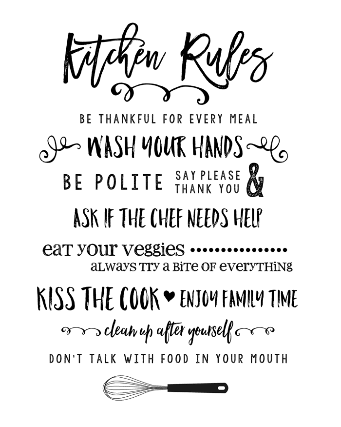 Kitchen Design Rules: Kitchen Rules Printable